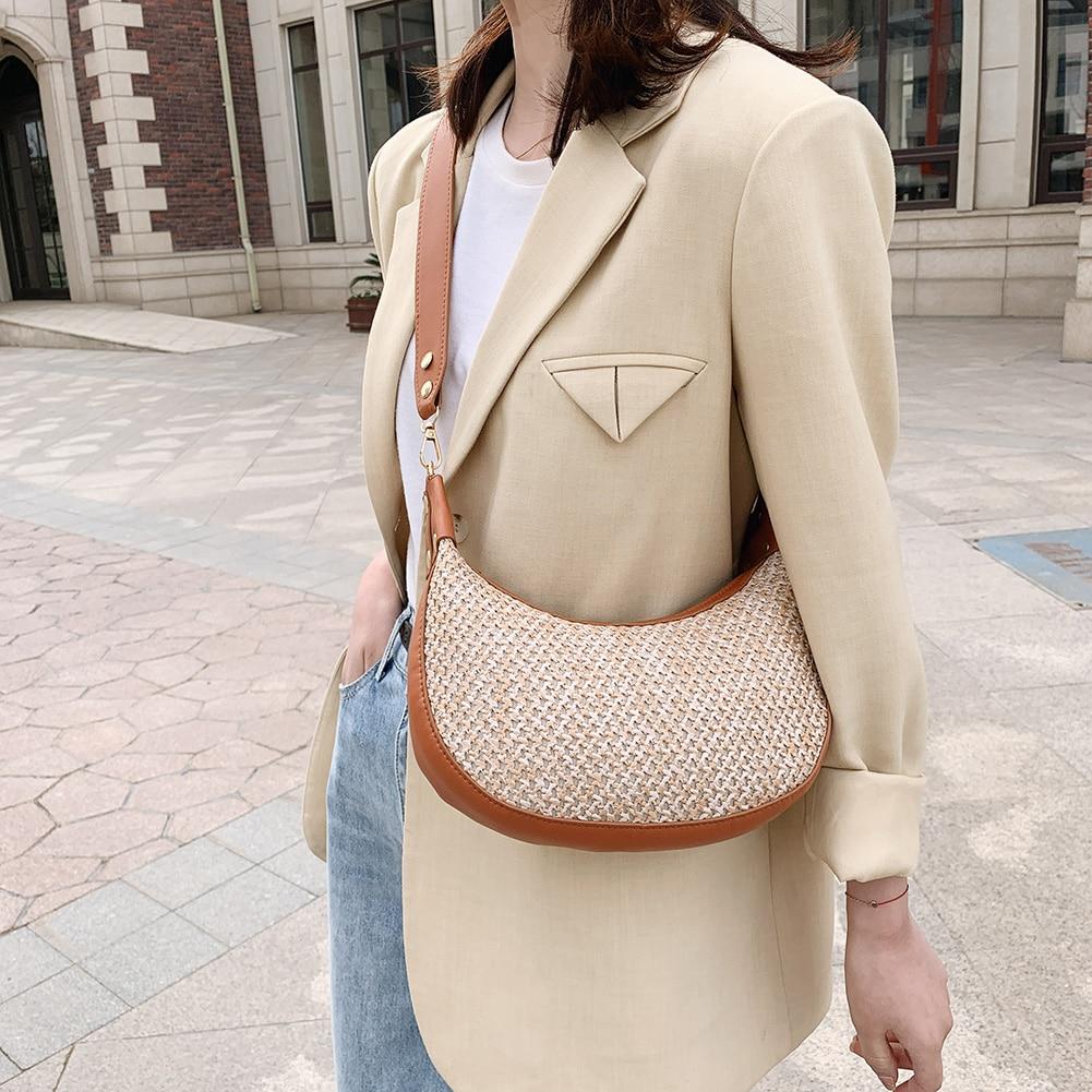New Fashion Straw Woven PU Leather Shoulder Bags Women Girls  Summer Rattan Bag Handmade Woven Beach Circle Bohemia Shoulder Bag