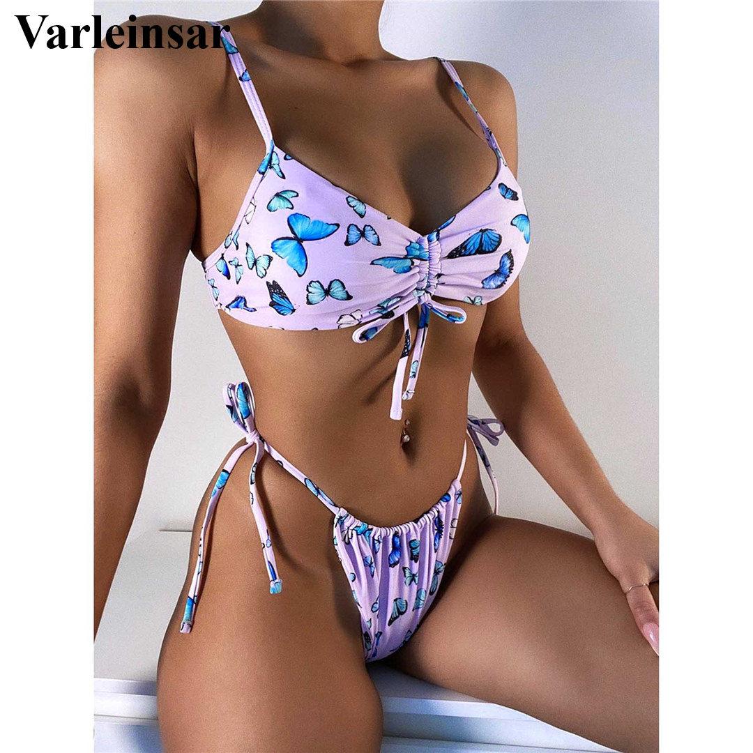 Новый женский купальник бикини с принтом бабочки, женский купальник, комплект бикини из двух предметов, купальный костюм для купания, V2705