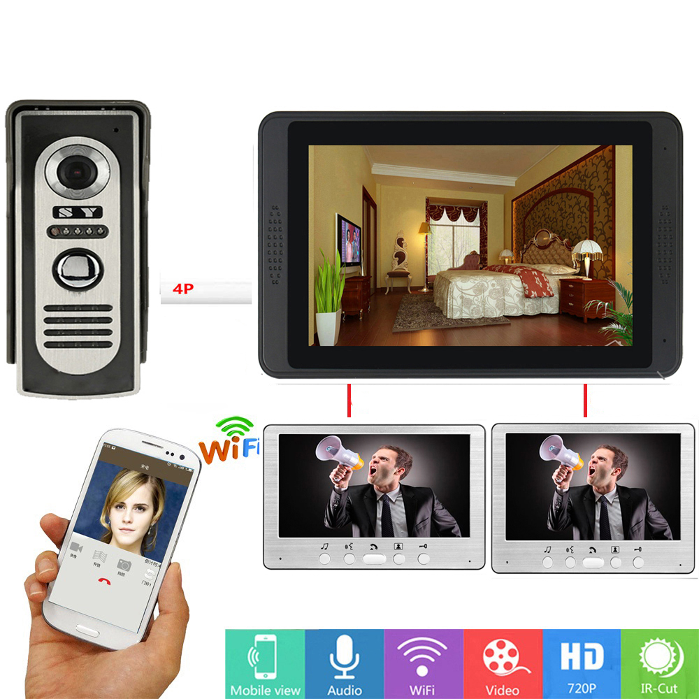 APP Control Wifi Wireless 7 Inch Monitor Video Door Phone Visual Video Intercom Speakerphone IR Camera Doorbell Intercom System