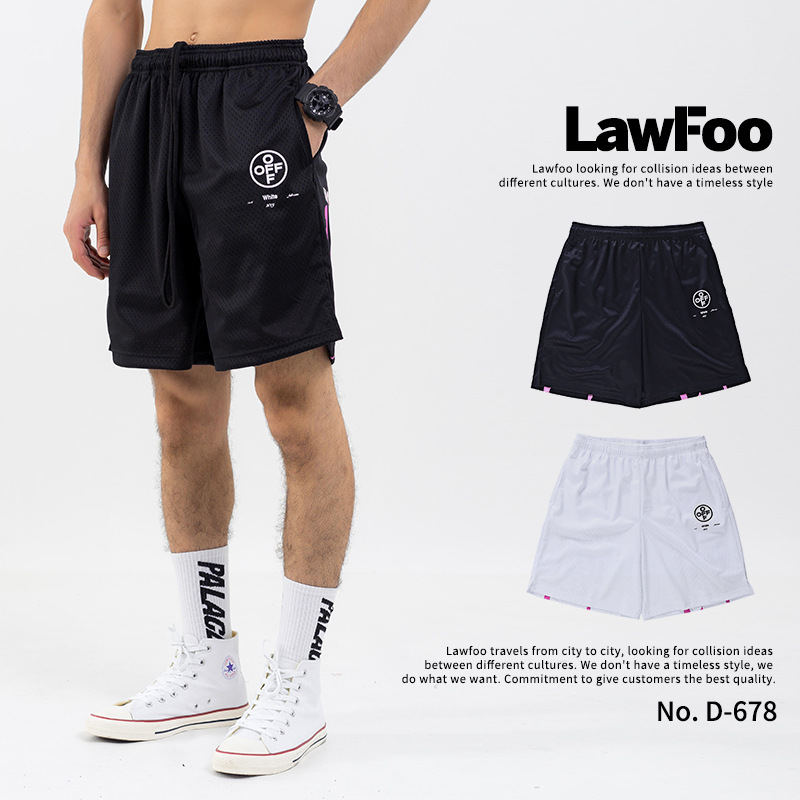 Lawfoo Men'S Wear  Spring And Summer New Style Popular Brand 99 Graffiti Printed Letter Men's Mesh Shorts Casual Pants