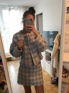 Image 4 - Vintage Ngọt Ngào Nữ Ngọc Trai Nút Kiểm Tra Bông Kẻ Kẻ Sọc Áo Cao Cấp Một Dòng Mini Váy Ngắn Tay Dài Phù Hợp Với 2 bộ Bộ