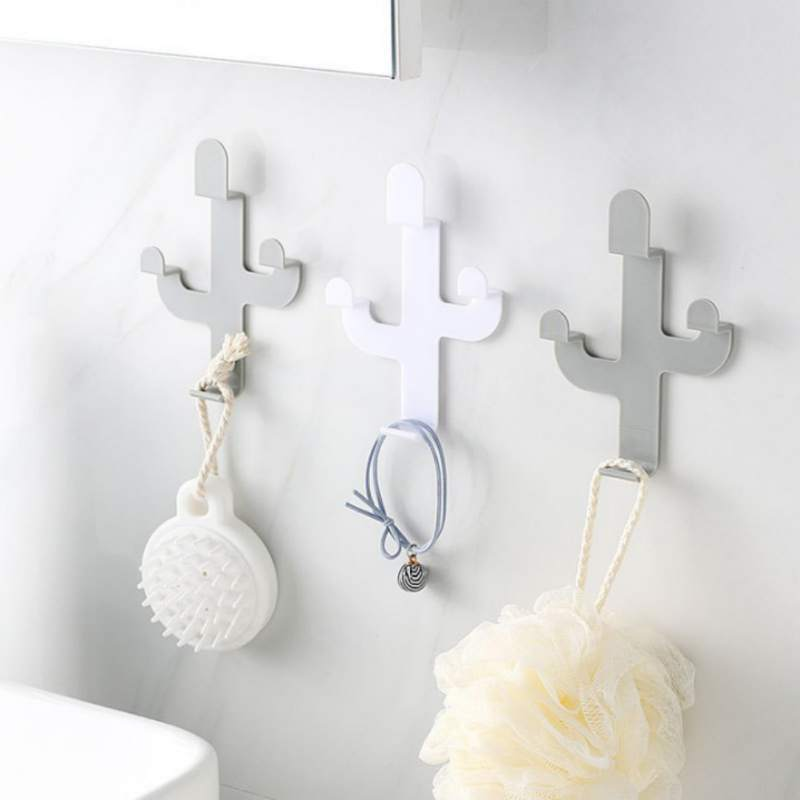 Creative Cactus Shaped Hooks Home Wall-Mounted Space-Saving Self-Adhesive Hook Bathroom Towel Key Hanger Tools