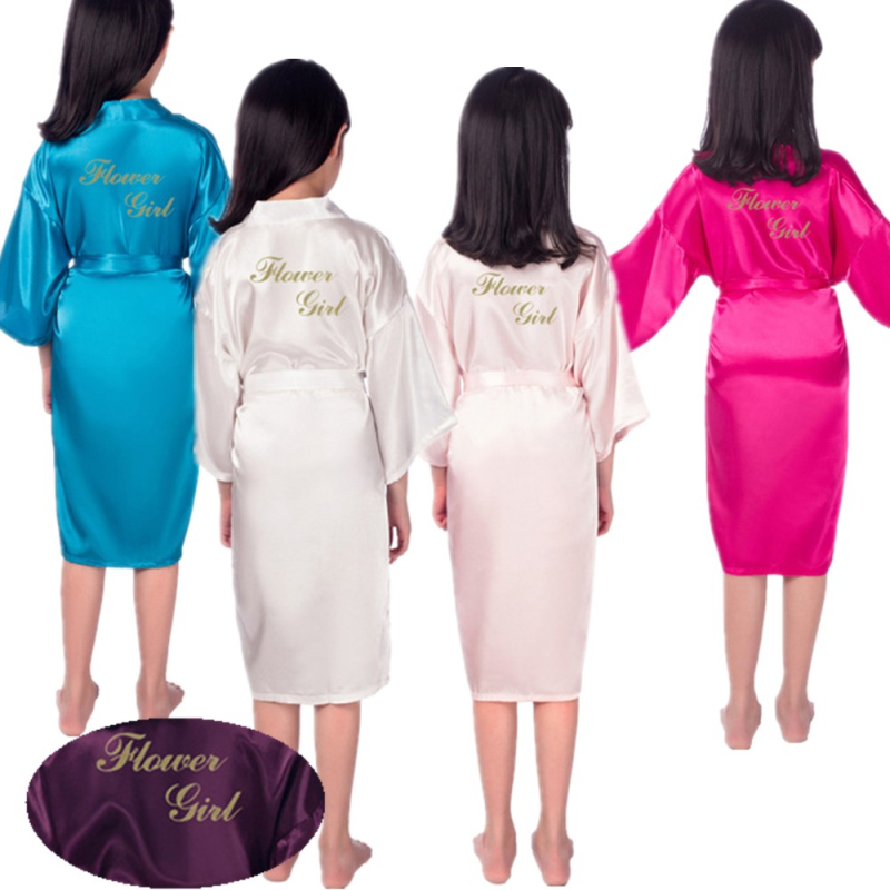 VIP Link Wholesale Flower girl gold letter Robes Satin Silk kids Robe Children Kimono Children's Bathrobes Wedding Party Robe