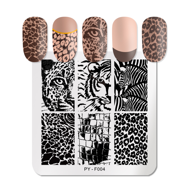 PICT YOU Square Leopard Nail Stamping Plates Animal Patterns Stainless Steel Nail Art Design Stencil Tools Stamp Plate
