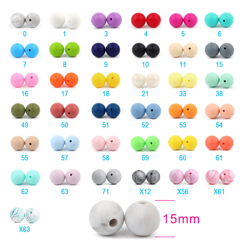 500pc Silicone Beads 15mm Food Grade Round Pacifier Chain Bead DIY Baby Pendant Teething Necklace Silicone Teether