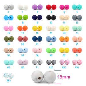 Image 4 - 500 perles en Silicone 15mm, de qualité alimentaire, perles rondes à sucette chaîne, pendentif pour bébé, anneau de dentition à faire soi même