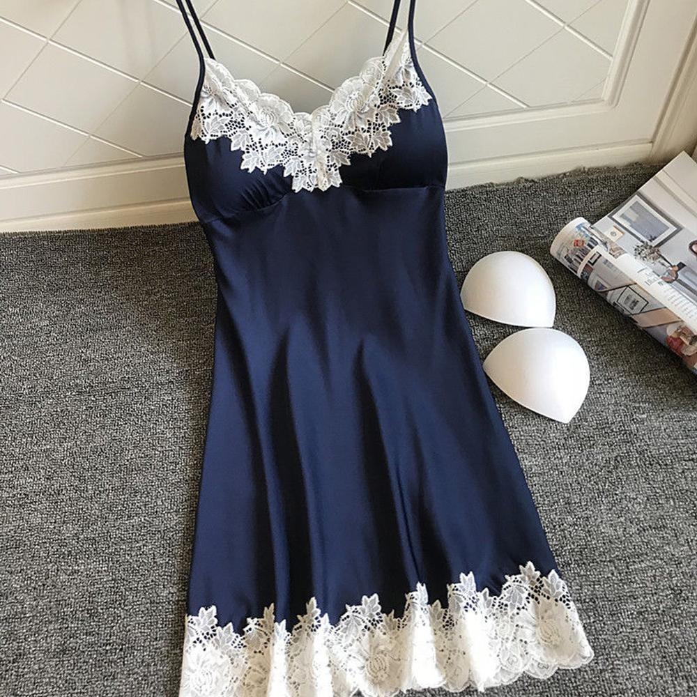 S-XXXL Ladies Sexy Silk Satin Night Dress Sleeveless Nighties V-neck Nightgown Nightdress Lace Sleepwear Nightwear For Women