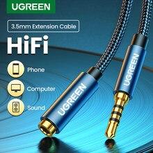 Adaptador de áudio ugreen, adaptador de entrada aux de áudio de 3.5mm para fêmea, cabo de extensão com microfone estéreo 3.5 para pc fones de ouvido