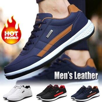 Мужские кожаные кроссовки, темно-синие дышащие кроссовки в английском стиле, повседневная обувь для отдыха, весна-осень 2020