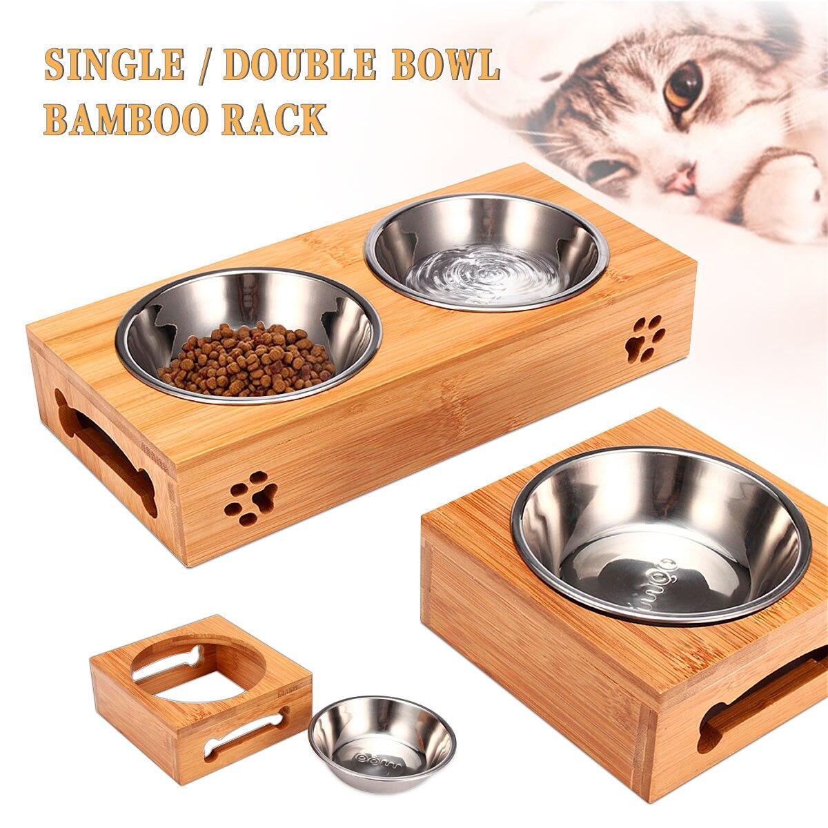 Duplo único cão tigelas para animal de estimação gato filhote de cachorro aço inoxidável bambu rack comida tigela alimentador de alimentos gatos alimentação pratos cães tigela