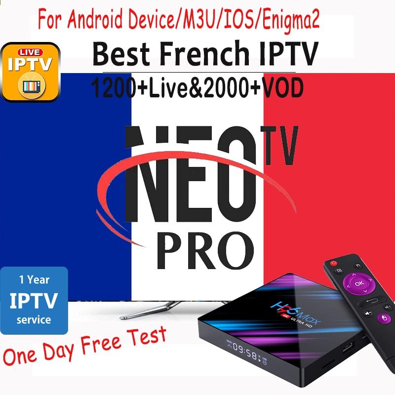 Francês assinatura iptv neotv pro tv ao vivo vod filmes canais francês árabe europa neo iptv m3u smart tv android caixa de tv h96 max