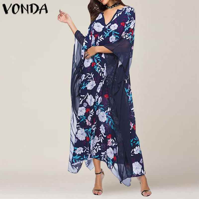 VONDA, женское офисное платье, женский сарафан, осень 2019, сексуальный рукав, с принтом, макси платье, повседневное, свободное, Vestidos размера плюс