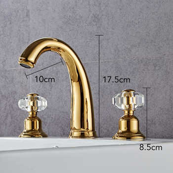 Soild Brass Gold Finish Faucet Bathroom Golden Swan Faucets Double Handle Three Hole Wash Basin Tap Mixer ELF1513G