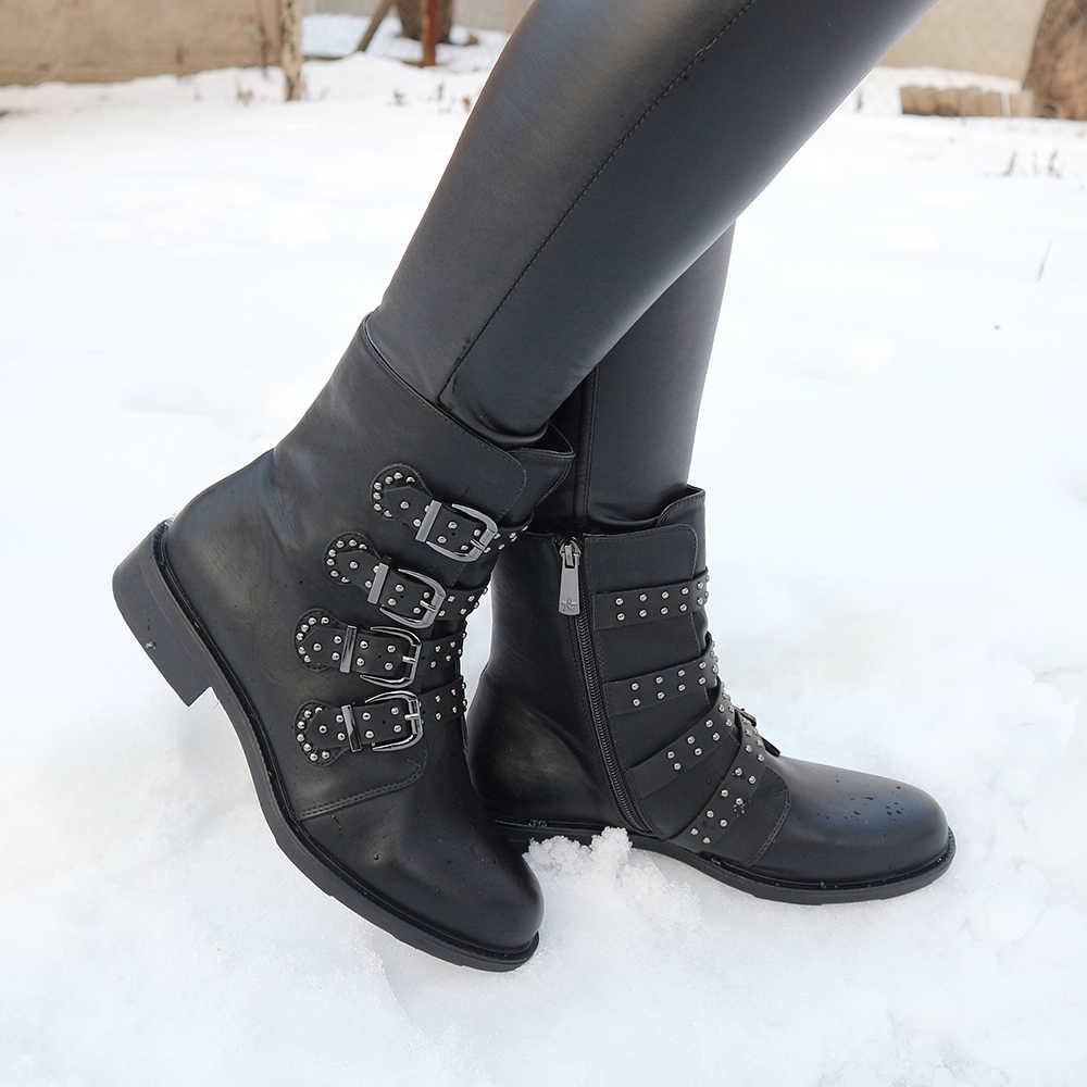 Moda kadın kısa çizmeler sonbahar deri toka bayanlar yarım çizmeler düz perçin kadın sonbahar kış Punk motosiklet kız çizmeler Feam