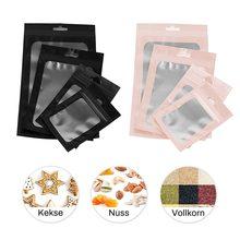 Sac plastique mat à fermeture éclair 6x10cm, 100 pièces/paquet, pochette alimentaire hologramme en aluminium, petites pochettes étanches à fermeture éclair refermable
