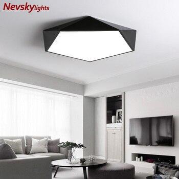 Minimalist led ceiling lights living room white shade simple ceiling lamp bedroom black geometric art led kitchen fixture dining