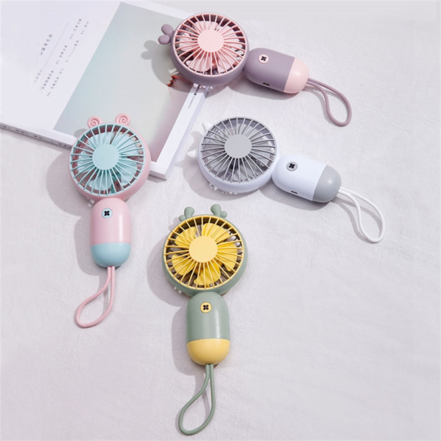 Cute Portable Deer Fan Handheld With Rechargeable Built-in Battery <font><b>500mA</b></font> USB Port Handy Air Cooling Mini Fan For Outdoor Home image