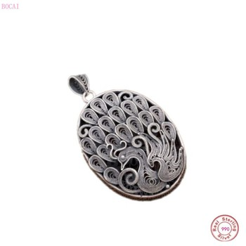 BOCAI S990 Pure Silver for women Handmade Filigree Phoenix Retro Hollow Sterling Silver Antique Ethnic Style Female Pendant
