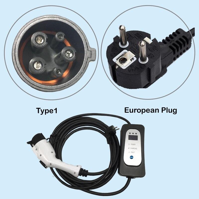 carregador portatil EV carregador Tipo 1 J1772 ficha schuko EVSE Carregamento 8/10/13/16A ajustável 5.5 Metros 18 polegadas cabo para carro elétrico