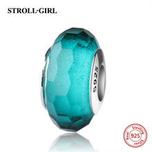 StrollGirl 925 sterling silver charms green Murano glass bead fit original Pandora bracelet diy jewelry accessories for gifts mistletoe jewelry 925 sterling silver large hole light blue 3d flowers murano glass charm bead fit european bracelet