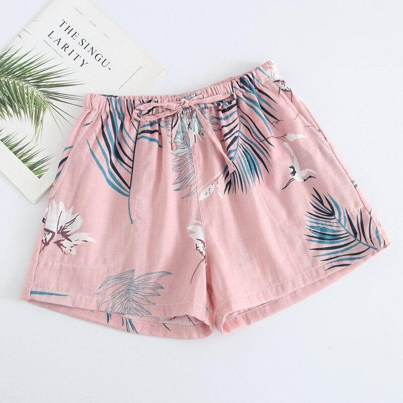 Летние женские Пижамные шорты, хлопковые газовые пижамы, штаны с принтом, штаны для сна, одежда для сна, женская одежда для сна - Цвет: Pink leaves