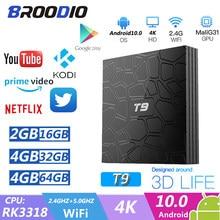 Boîtier TV T9 Android 10.0, RK3318 quad core, 4 go/64 go, Mini lecteur multimédia connecté 4K, avec USB 3.0, WIFI 2.4/5 ghz et 2G/16G