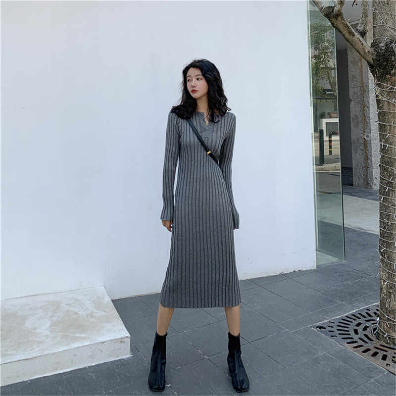 Однотонное тонкое вязаное платье в полоску, длинное осеннее элегантное эластичное осеннее женское модное Повседневное платье с длинным рукавом, новинка 2019