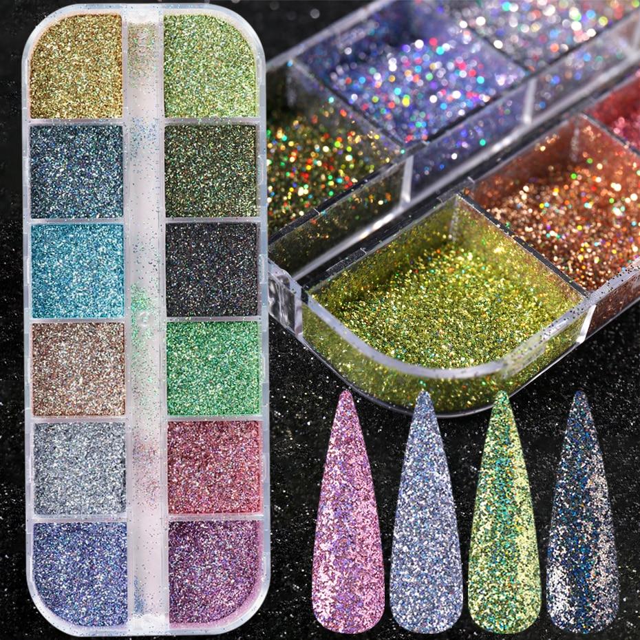 1Case Holographic Laser Glitter Powder Gold Silver Dip Powder Mirror Polishing Chrome Pigment DIY Nail Art Manicure Decor JI1599