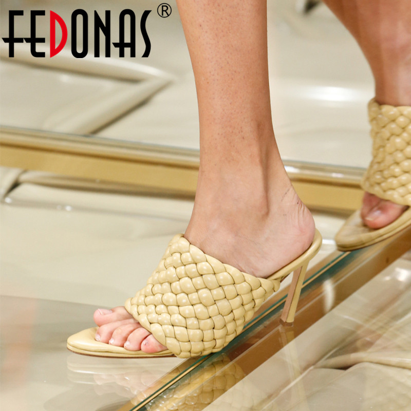 FEDONAS 2020 Spring Summer Peep Toe Women Sandals Vintage Sexy High Heels Pumps Classic Design Night Club Casual Shoes Woman
