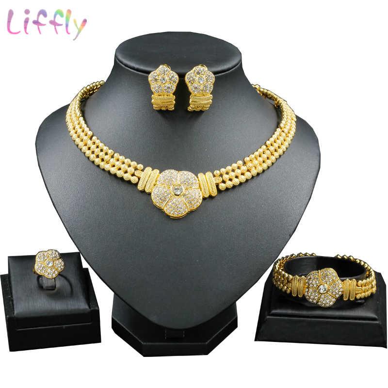 Nigeria Schmuck Set Goldene Sonne Floral Kristall Luxus Layered Halskette Ohrringe Armband Indischen Schmuck Arabischen Schmuck Frauen