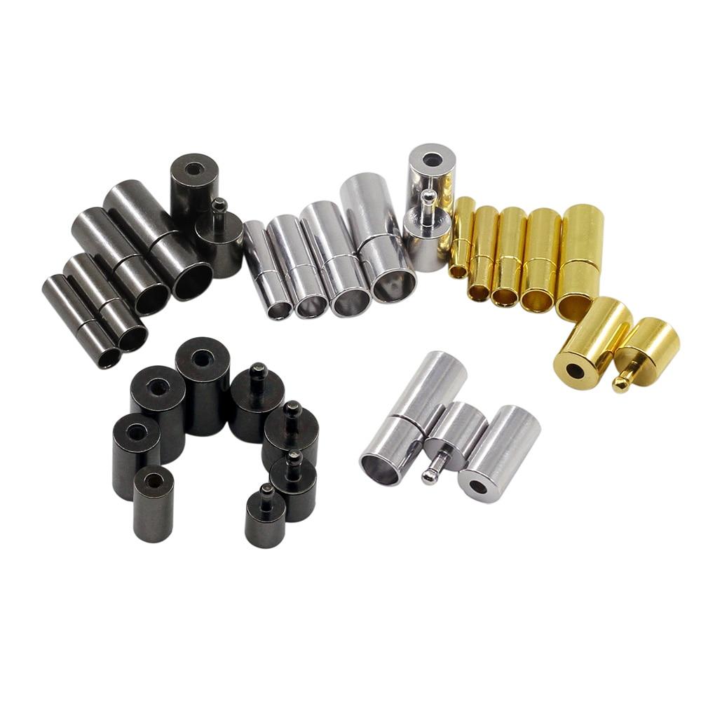 10 pçs/lote preto/ouro/ródio cor metal tampas fim fechos se encaixa 2/2. 5/3/4/5/6/7/8mm redondo cabo de couro para fazer jóias diy