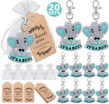 20 guest baby gifts in return, baby elephant keychain + organza bag + thank you kraft paper label, provide elephant theme party