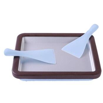 Sorbetière Roulée, Casserole Anti-gril Rectangle Avec 2 Spatules Pour Une Crème Glacée Roulée Maison Saine, Ic Instantané Facile à Utiliser