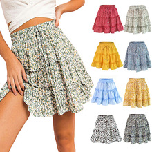 Dot Print Short Mini Skirts Women Summer Ruffle High Waist Bow Tie Ski