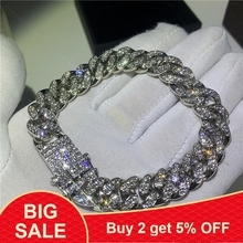 Hip hopowa moda mrożona modne bransoletki wysoki złoty łańcuszek z łańcuszkiem Miami bransoletka Hip Hop biżuteria