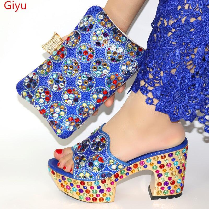 Doershow chaussures et sacs italiens pour assortir les chaussures avec un ensemble de sacs décoré de strass femmes nigérianes ensemble de chaussures de mariage! HWQ1 8 - 5