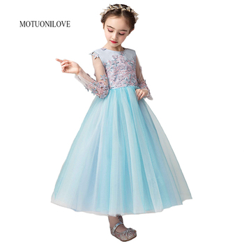 Long Sleeves Flower Girl Lace Dresses for Kids Wedding Bridesmaid Party Wear Children Formal Gown Princess Puffy Tulle Dress new red champagne flower girl dresses long sleeves lace satin mother daughter dresses for children christmas party prom gown