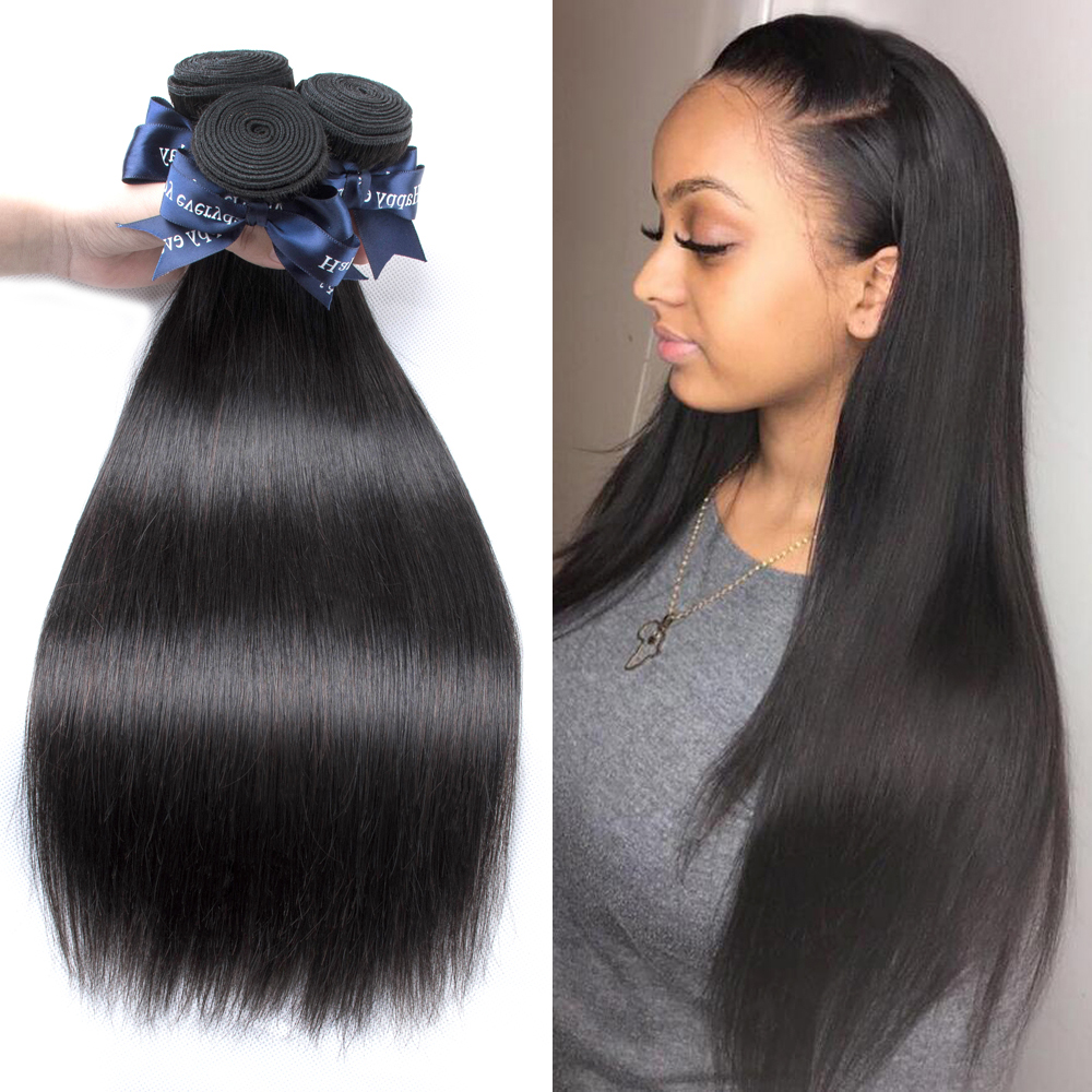 BEAUDIVA Brazilian Straight Human Hair 4 Piece Hair Weave Bundles 8-24inch Natural Color Free Shipping Hair Extension