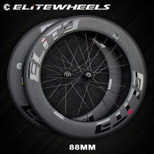 Image 1 - エリートカーボンホイール 700cロードバイクA1 エアロブレーキ面管状クリンチャーチューブレスtpiベアリングストレートプル 4 爪ハブ一眼レフ 3.0