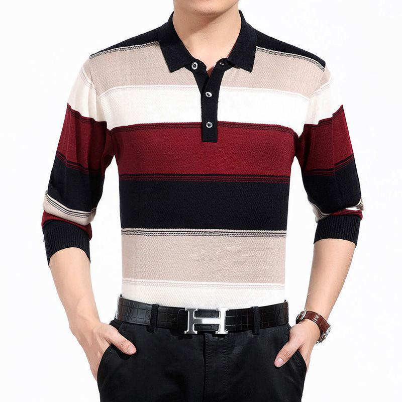 2019 High Quality Cashmere Wool Sweater Men Famous Brand Clothing  Business Fashion Big Striped Turn-down Collar Pullover Homme
