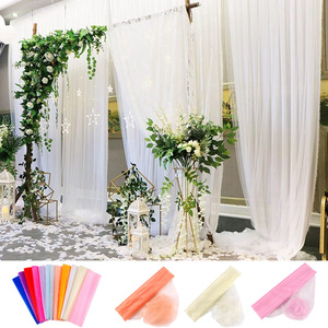 Image 2 - FENGRISE 5M 10M Bride Party Decor Wedding Organza Tulle Fabric Sheer Swag Backdrop Curtain Rustic Wedding Decoration Party Event