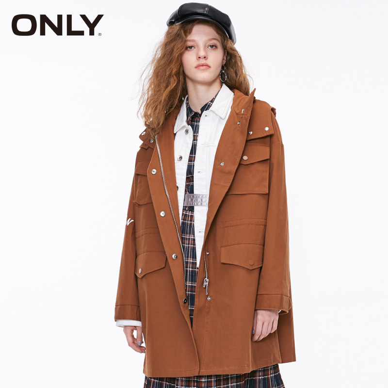 ONLY autumn letters printing pocket hooded loose   Trench   coat| 118336557