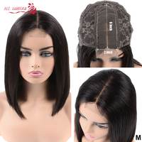 Lace Closure 2x6 Short Bob Human Hair Wigs With Bangs Natural Pre plucked Swiss Lace Wig Virgin Straight Malaysian Hair