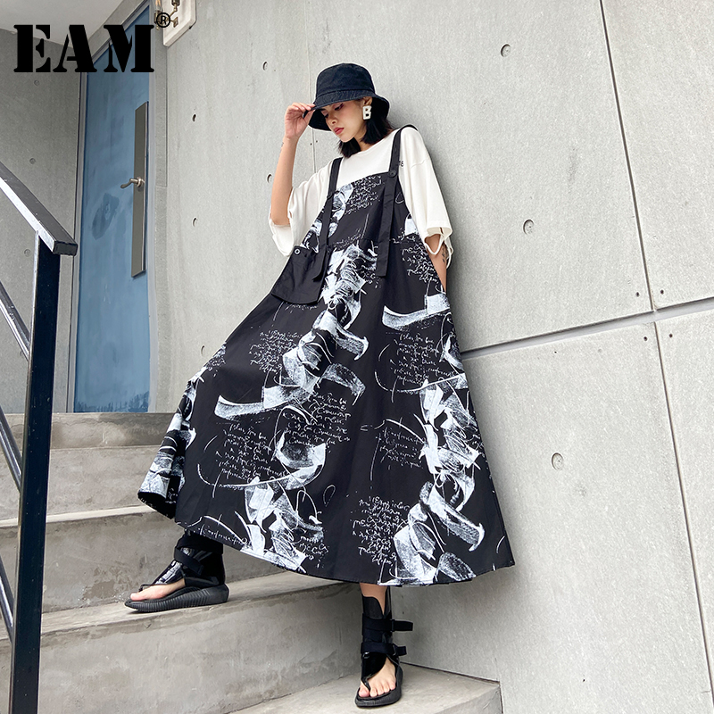 [EAM] Women Black Printed Pocket Long Big Size Strapless Dress New Sleeveless Loose Fit Fashion Tide Spring Summer 2020 1T547