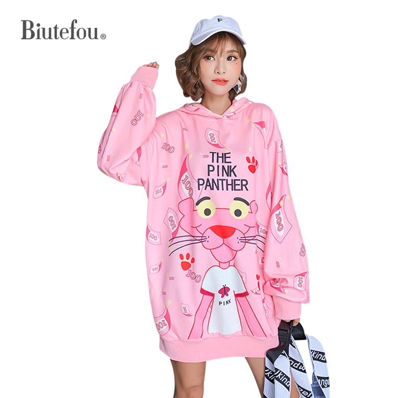 2019 Autumn Cartoon Print Cec Long Sweatshirts Fashion Women Ins Hooded Sweatshirts