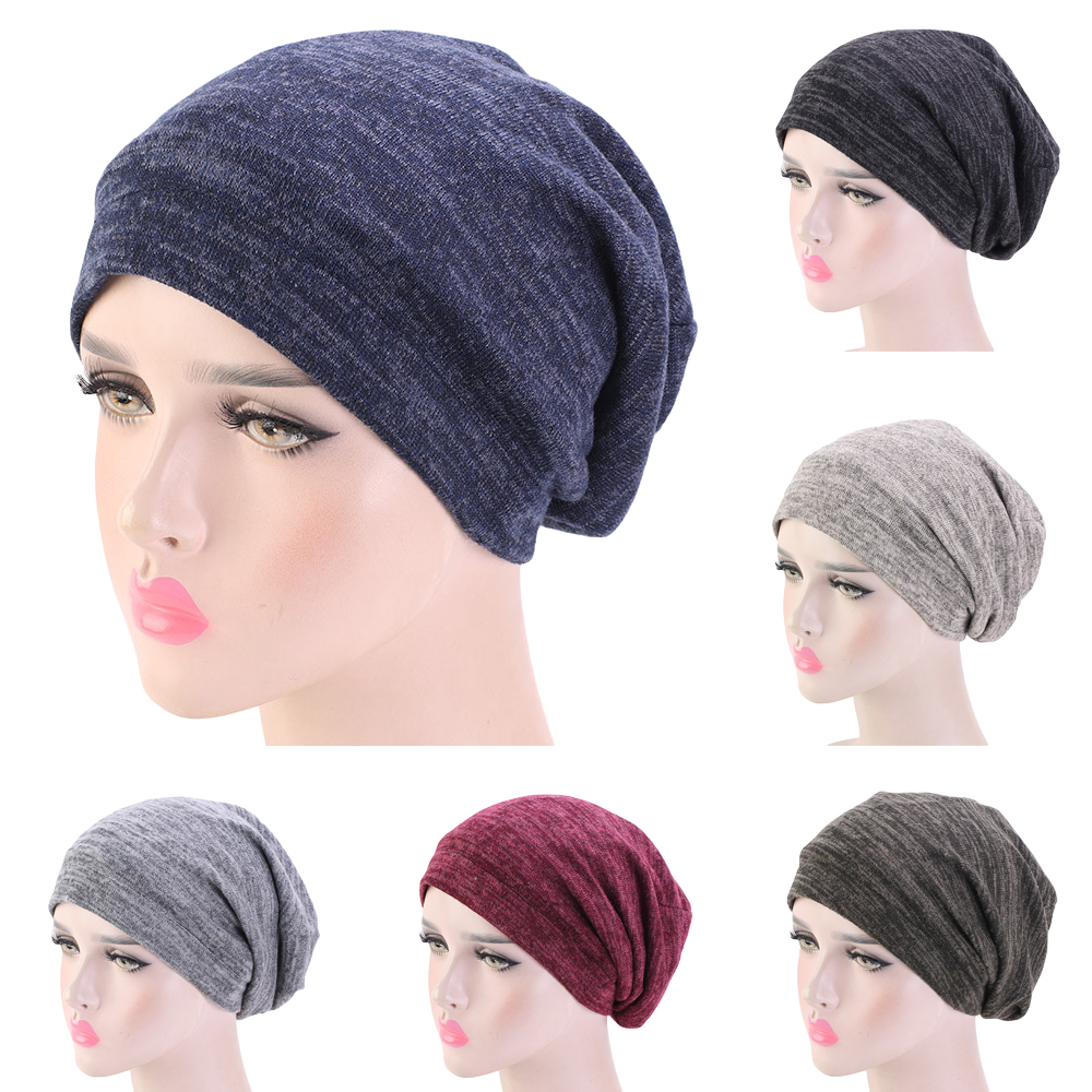 Unisex Women Men Ski Chemo Cap Hat Turban Baggy Beanie Satin Lined Night Sleep Cap Hair Care Bonnet Hair Loss Hat Winter Warm