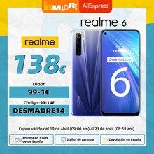 Realme 6 versión Global, Teléfono Inteligente, 4GB, 128GB, pantalla de 6,5 pulgadas, 90Hz, cámara cuádruple de 64MP, Helio G90T, 4300mAh, carga rápida de 30W,NFC;código:DESMADRE14(€99-14);DESMADRE6(€29-6);DESMADRE3