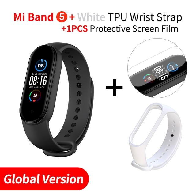 Xiaomi mi band 5 έξυπνο ρολόι μεγάλη οθόνη 1. 1 δώρο λουράκι και προστασία οθόνης