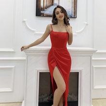 Spring New Sexy Spaghetti Strap Dress Women 2021 Solid Sleeveless Backless Party Dress Ladies Summer Slim Split Bodycon Dress
