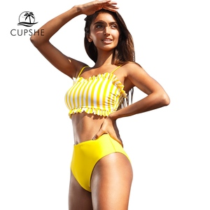 Image 4 - CUPSHE Yellow Stripe High waisted Bikini Sets Sexy Bandeau Tank Top Swimsuit Two Pieces Swimwear Women 2020 Beach Bathing Suits